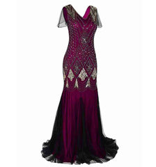Wine Red Gold Women Evening Dress 1920s Flapper Gatsby Gown