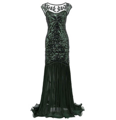 1920s Style Long Flapper Great Gatsby Dresses Mocha Wedding Reception Dress