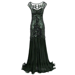 1920s Style Long Flapper Dresses Great Gatsby Mocha Wedding Reception Dress