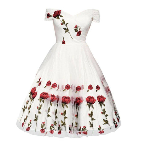 Unique White Rose Embroidery Off Shoulder 1950s Plus Size Dresses Vintage Wedding Dress