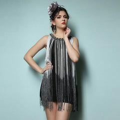 Women's Chain Neck Long Fringe Tassel Dress 1920s Fashion