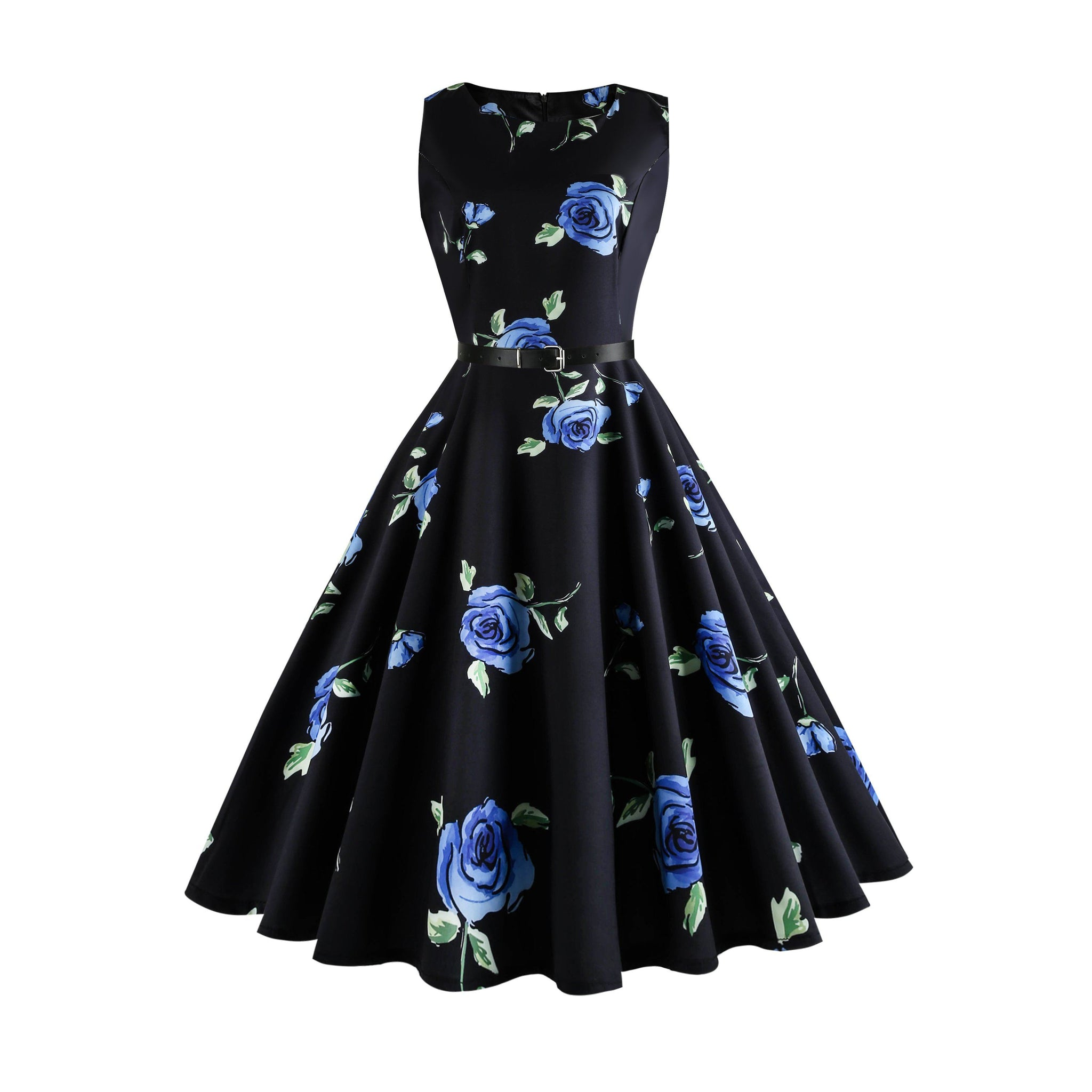Vintage 1950s Elegant Printed Floral Audrey Dress Retro Cocktail Dress