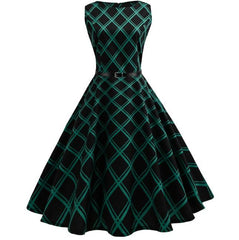 Women's Vintage Plaid Sleeveless Evening Party Hepburn Dress with Belt
