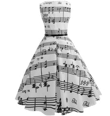 Women Music Note Print Hepburn Dress Vintage