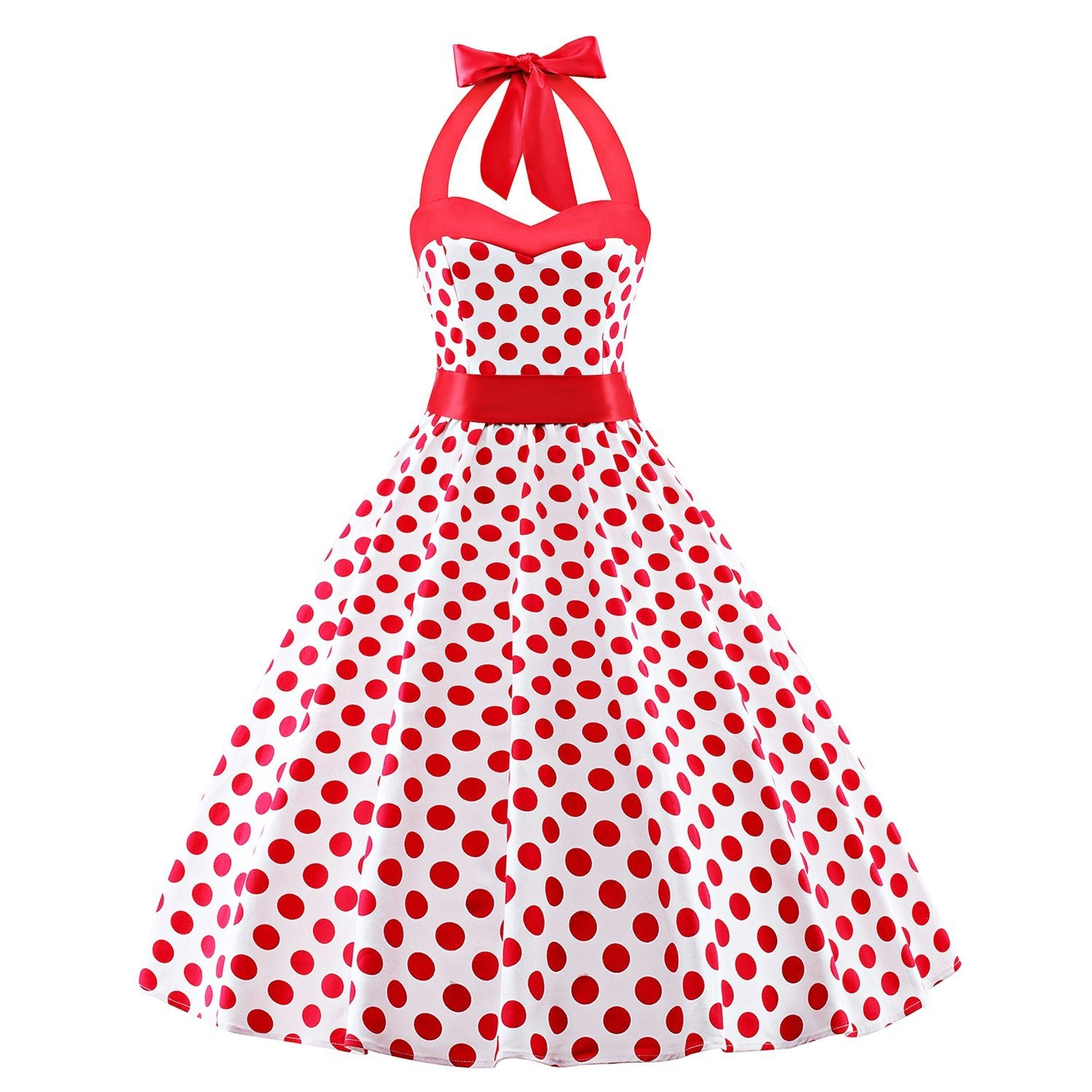 1950s Polka Dots Vintage Audrey Dress Halter Retro Cocktail Rockabilly Prom Dresses