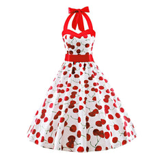 Womens Vintage Cherry Dress 50s Fashion Halter Floral Spring Garden Party