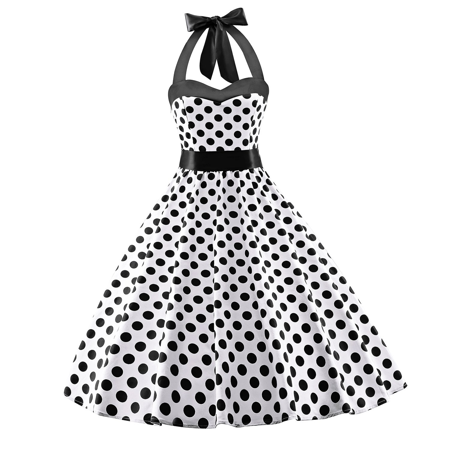 Women's 1950s Retro Cocktail Vintage White Dress with Black Polka Dots