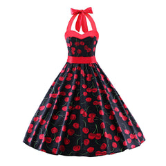 Cherry Red Neckline Halter neck 50s Inspired Vintage Floral Rockabilly Swing Pinup Dresses