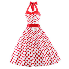 1950s Vintage Audrey Dresses Halter Retro Red Polka Dot Dress