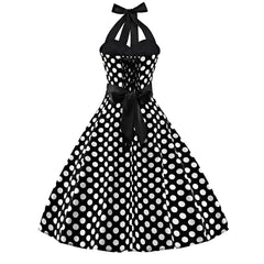 Sleeveless Polka Dot 50s Inspired Vintage Rockabilly Swing Dresses