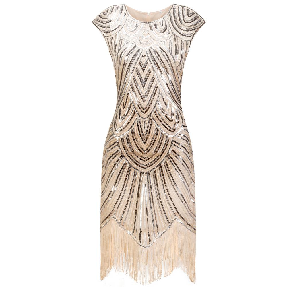 Ivory Sequined 1920s Flapper Dress Great Gatsby Party |JaosWish ...