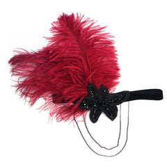 Vintage Feather Flapper Fascinator Tassel Chain Plastic Beads
