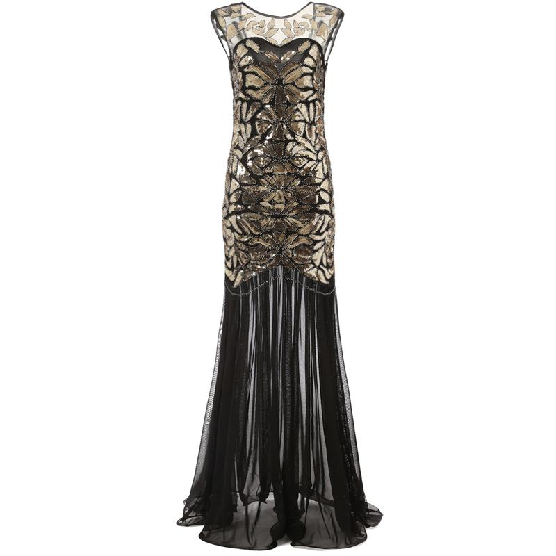 83f4e38ae3a 20s Great Gatsby Inspired Long Flapper Dress 1920s Themed Party ...