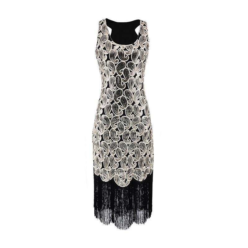00ef33b2dc4 Sequined Paisley Pattern Classic 1920s Style Flapper Dress Great ...