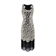 Sequined Paisley Pattern Classic 1920s Style Flapper Dress Great Gatsby Party