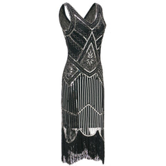Silver Sequined 1920 Dresses Vintage 20s Inspired Great Gatsby Party