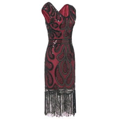 Wine red Great Gatsby Dresses 1920s Fashion Sequined Art Deco 1920's Themed Dance