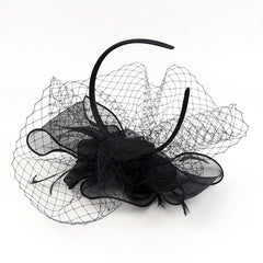 Women Pearl Fascinator Mesh Net Sinamay Hat Headband