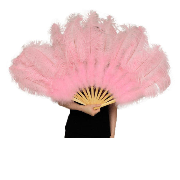 Ostrich Feather Fan Large Dance Fans Pink Orange