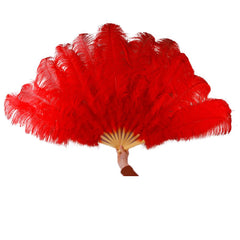 Ostrich Feather Fan Large Dance Fans Rose Red