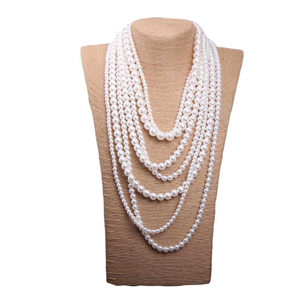 Multilayer Faux Pearls Flapper Long Necklace