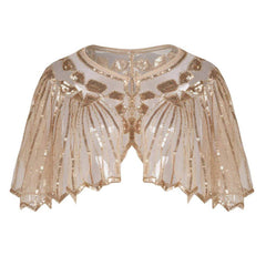 1920s Shawl Sequin Evening Cape Flapper Cover Up Apricot