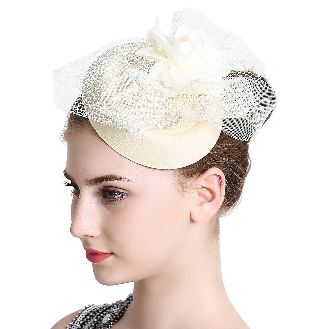 Women Wedding Hat Fascinator Penny Mesh Hat Ribbons Party Cocktail Hat