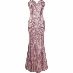 Women's 20s Style Shining Long Flapper Dress Gatsby Attire Champagne