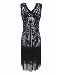 Sequined Style 1920s Fringe V-Neck Sleeveless Flapper Dress