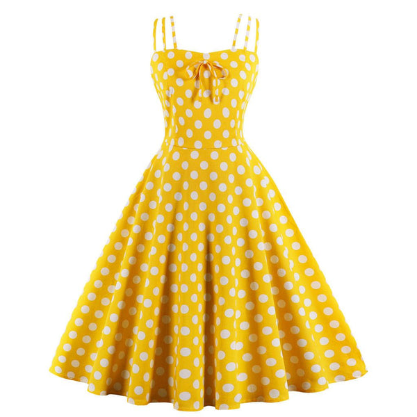 Yellow Polka Dot Sling 1950s Dresses Retro Style Tea Party