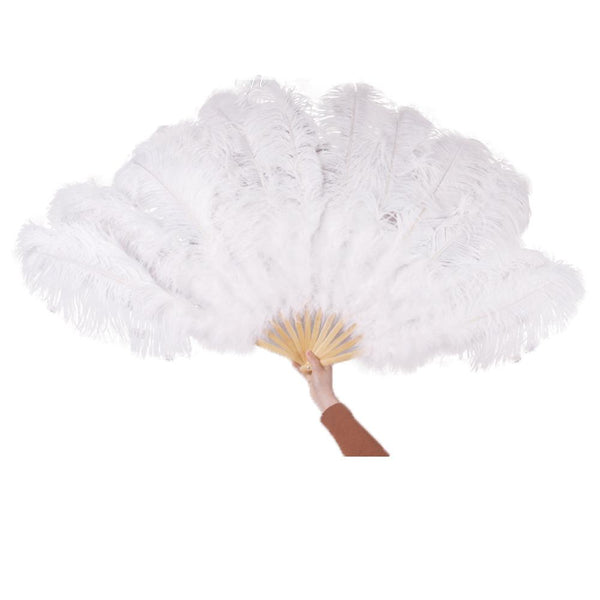 Ostrich Feather Fan Large Dance Fans White Black