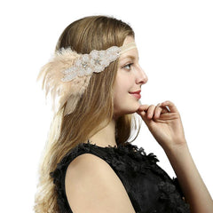 1920s Flapper headband Gatsby Party Costume Accessories Feather Headpiece