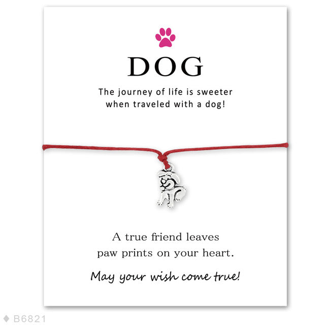 Infinity Love Dog Paw Prints Wish Card Bracelet Pawrful