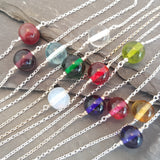 Emily Choker Style Necklaces - Round coloured glass beads on a short sterling silver chain - by A Little Trinket