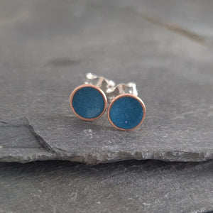 Blue Green Enamelled Copper & Silver Stud Earrings a Earrings from A Little Trinket