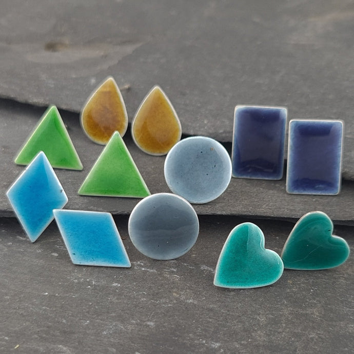Geometric Enamelled Earrings in Sterling Silver a Earrings from A Little Trinket