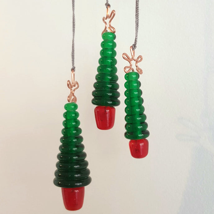 Glass Christmas Tree Ornament, Hanging - Green and Red a Ornament from A Little Trinket