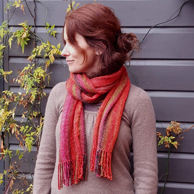 Hand Woven Striped Scarf in Lambs Wool, Kid Mohair and Silk - Fiery shades a Scarf from A Little Trinket