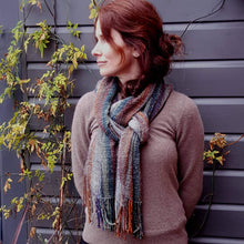 Hand Woven Striped Scarf in Lambs Wool, Kid Mohair and Silk - muted Autumn shades a Scarf from A Little Trinket