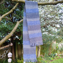 Handwoven Unisex Scarf, Blue & Grey in a wool blend a Scarf from A Little Trinket