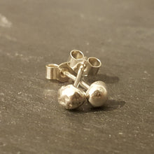 Recycled Nugget Stud Earrings in Sterling Silver with butterfly or scroll backs