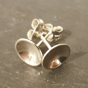 Little Domed Stud Earrings in Sterling Silver with butterfly backs