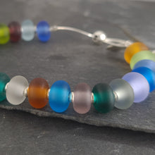 Multi Coloured Frosted Glass and Silver Adjustable Bracelet a Bracelet from A Little Trinket
