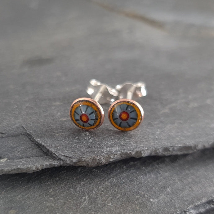 Murrini Enamelled Copper & Silver Stud Earrings a Earrings from A Little Trinket