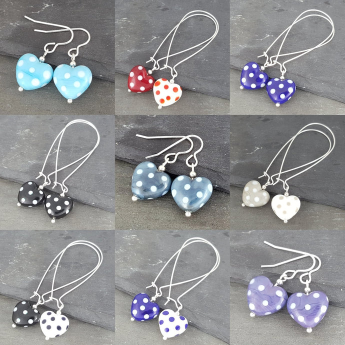 Polka Dotty Collection - Heart Earrings - The Classics a Earrings from A Little Trinket