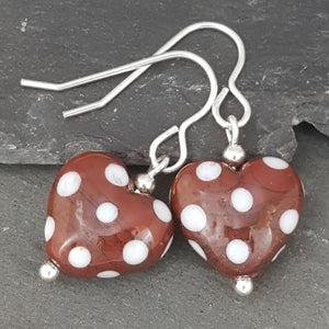 Polka Dotty Collection - Heart Earrings - The Colours - Regular length a Earrings from A Little Trinket