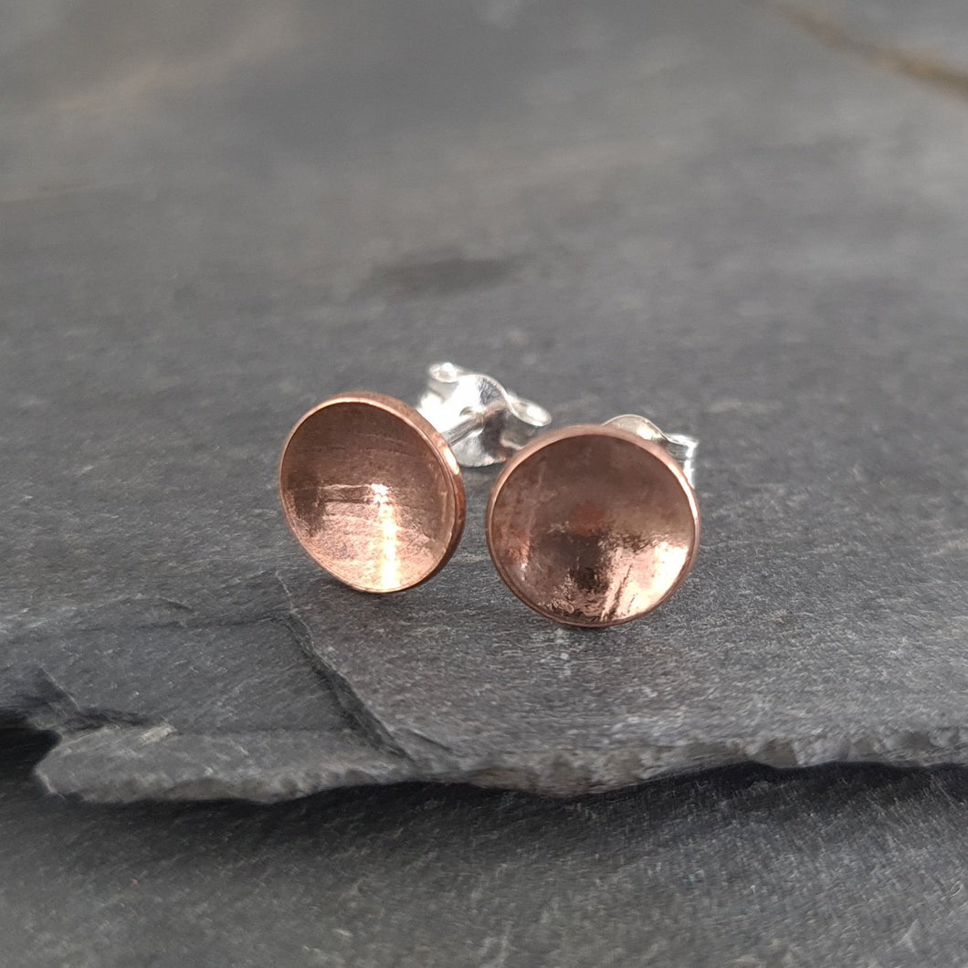 Round Textured Copper Stud Earrings a Earrings from A Little Trinket