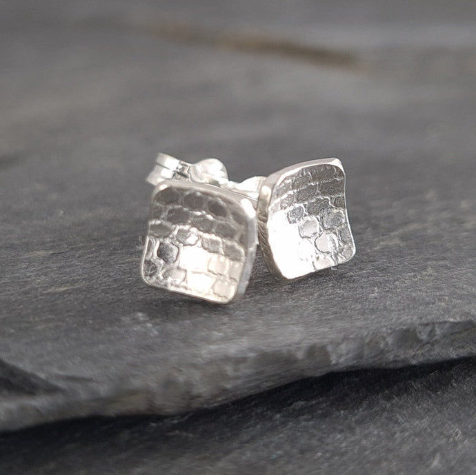 Square Textured Silver Stud Earrings a Earrings from A Little Trinket