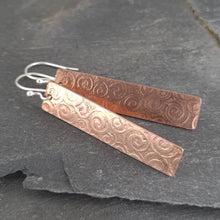 Textured Copper Tab Drop Earrings a Earrings from A Little Trinket