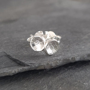 Tiny Round Textured Silver Stud Earrings a Earrings from A Little Trinket